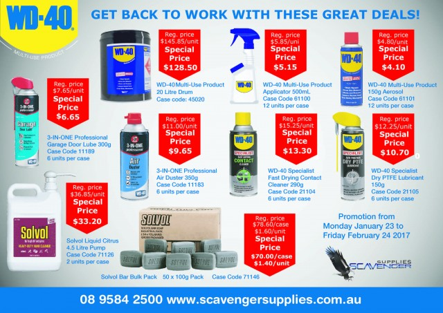 wd40-back-to-work-specials WD40 Back to Work Specials to 24 February 2017 WD40 Specials Scavenger Supplies February 2017 Back to Work